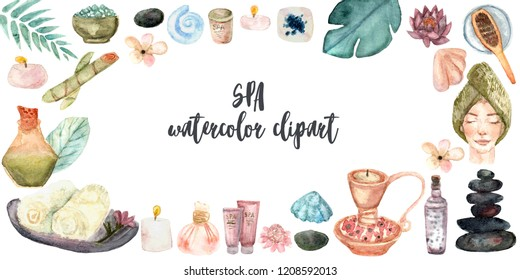 Spa treatment banner on white background.Design for cosmetics, store,spa and beauty salon, organic health care products. Can be used as logo design. Watercolor illustration.