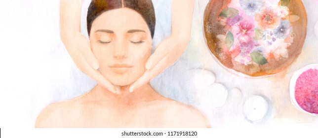 spa, watercolor illustration of salon procedures in the spa, drawing from the hand of a portrait of a woman, facial massage at a cosmetologist and aromatherapy