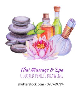 Spa and wellness banner with pink lotus flower, natural hot stones, herbal ball compress and bottles of organic oils for aromatherapy. Colored pencils illustration isolated on white background.