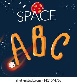 Space ABC. Cover with letters and a comet