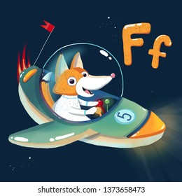 Space ABC. Letter: F. The fox flies in the spaceship with a flag and number five onboard