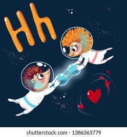 Space ABC. Letter: H. Hedgehogs with hydrogen and heart in space