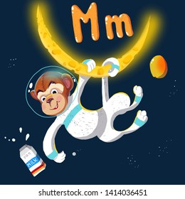 Space ABC. Letter M: The monkey hangs on the moon with milk and mango