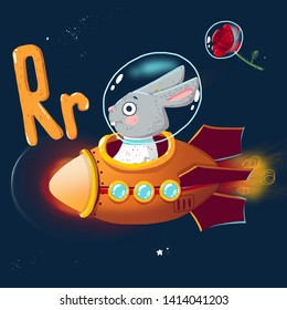 Space ABC. Letter R: Rabbit in a rocket and a rose