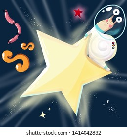 Space ABC. Letter S: Snail with a star and sausages
