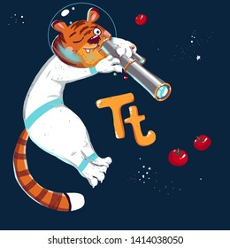 Space ABC. Letter Т: The tiger looks in the telescope at tomatoes