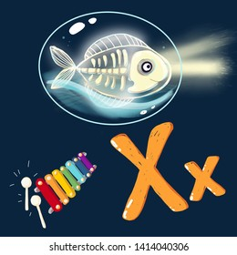 Space ABC. Letter X: fish X-ray with a xylophone