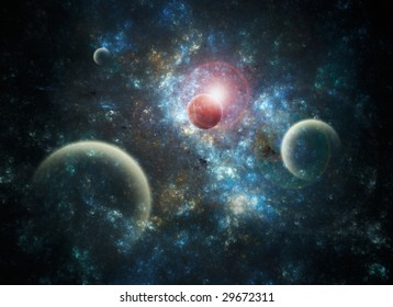 Space Art Nebula - illustration of a deep-space nebula with planets.