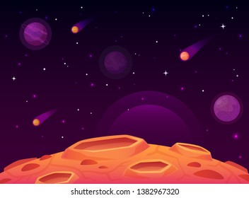 Space asteroid surface. Planet with craters surface, space planets landscape and comet crater. Futuristic atmosphere, meteorite rain horizon land, moon destruction cartoon  illustration