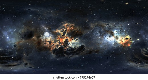 Space background with dust nebula and stars. Panorama, environment 360 HDRI map. Equirectangular projection, spherical panorama. 3d illustration