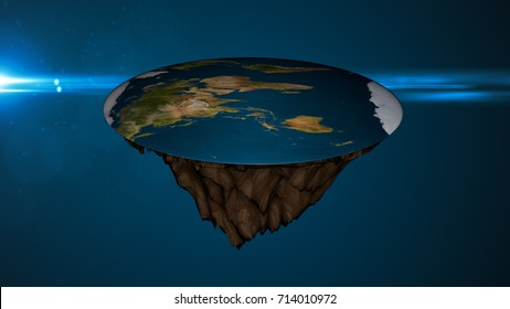 Space background with flat earth. Digital illustration. 3d rendering