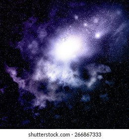 Space background with nebula and star clusters