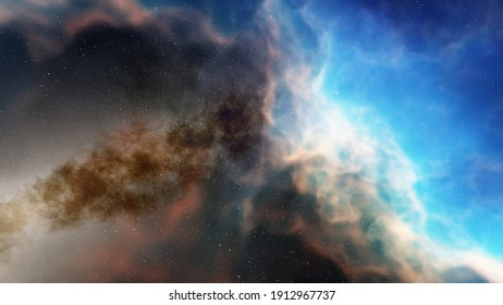 Space background with nebula and stars, nebula in deep space, abstract colorful background 3d render