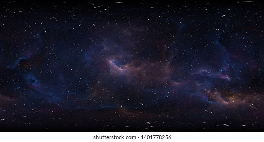 Space background with nebula and stars. Environment 360 HDRI map. Equirectangular projection, spherical panorama. 3d illustration