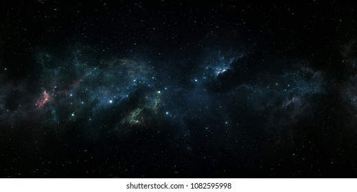 Space background with nebula and stars. Panorama, environment 360 HDRI map. Equirectangular projection, spherical panorama. 3d illustration