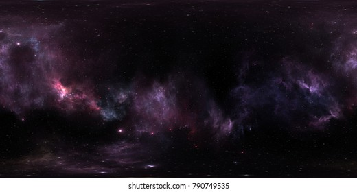 Space background with purple nebula and stars. Panorama, environment 360 HDRI map. Equirectangular projection, spherical panorama. 3d illustration