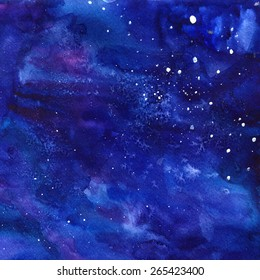 space background with sparkling stars. Night watercolor sky with paint strokes and swashes