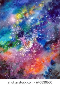 Space background. Watercolor art background with space, stars, milky-way. University art background. Multicolor abstract background. Wall art painting for home decor. Interior wallart.