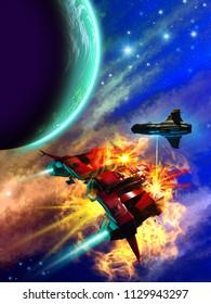 space battle around a blue alien planet, 3d illustration
