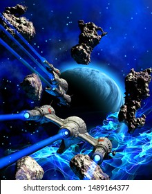 space Battle around a Planet, insider a nebula with asteroids, 3d illustration