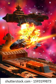 space battle in the nebula, 3d illustration