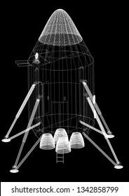 Space Capsule Architect blueprint  3D renderings