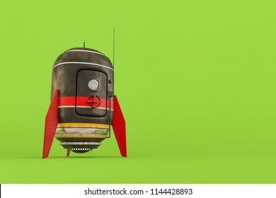 space capsule isolated on green, background 3d illustration