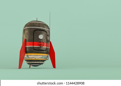 space capsule isolated on green background 3d illustration