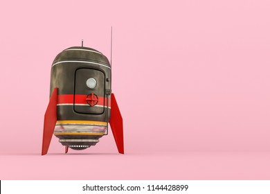 space capsule isolated on pink background 3d illustration