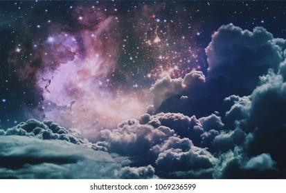 Space Clouds Background Vintage Color Wallpaper Fantastic Art