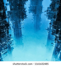 Space colony towers / 3D illustration of dark futuristic city shrouded in clouds