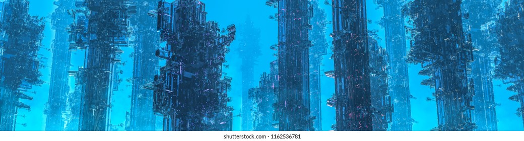 Space colony towers panorama / 3D illustration of dark futuristic city shrouded in mist