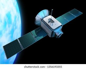 Space communications satellite orbiting Earth. New global internet technology. 3D illustration.