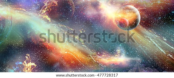 Space, cosmic galaxy planet Illustration. Planets, nebulae in space, solar explosion, astronomy wallpaper. 2021 horoscope, zodiac astronomy, astrology signs, fantasy, zodiac signs tarot moon eclipse
