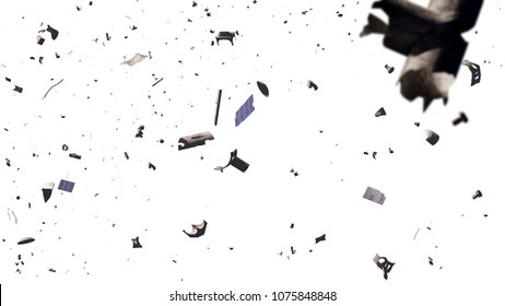 space debris in Earth orbit, dangerous junk isolated on white background (3d illustration)