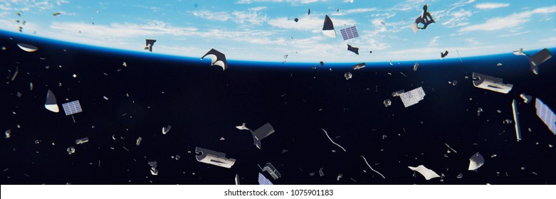 space debris in Earth orbit, dangerous junk orbiting around the blue planet (3d illustration banner, elements of this image are furnished by NASA)