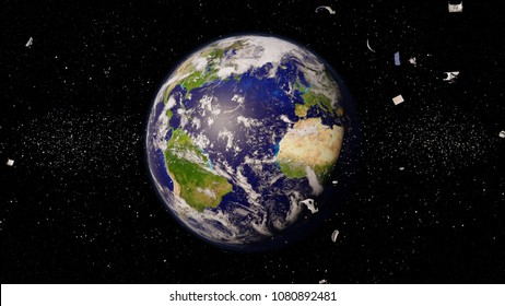 space debris in Earth orbit, dangerous trash orbiting around the blue planet (3d illustration, elements of this image are furnished by NASA)