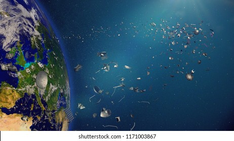 space debris in Earth orbit, dangerous junk orbiting around the blue planet (3d render, elements of this image are furnished by NASA)