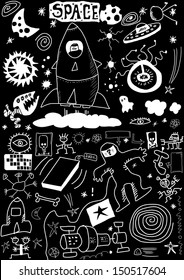 space doodle isolated on black background