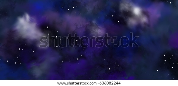 Space Drawing Sky Clouds Stars Planets Stock Illustration 636082244