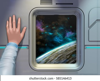 Space explorer looking through a spaceship window. 3D illustration.