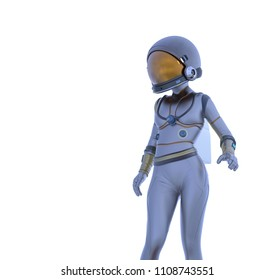 Space girl in white background. 3d illustration.