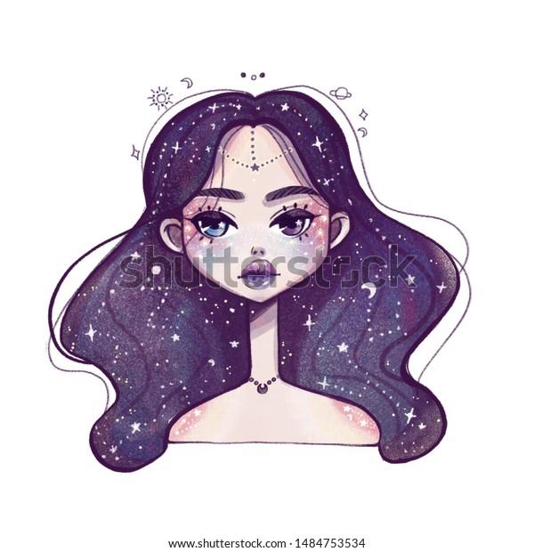 Space Girlillustration Girl Cartoon Fairy Tale Stock Illustration