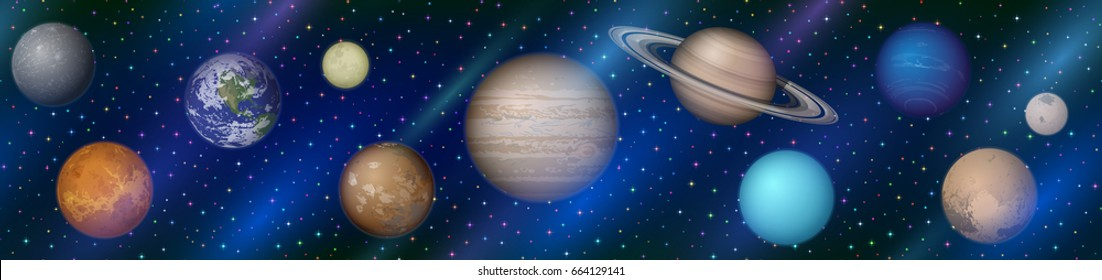 Space Horizontal Seamless Background with Solar System Planets Earth, Moon, Mercury, Venus, Mars, Jupiter, Saturn, Uranus, Neptune, Pluto and Charon. Elements Furnished by NASA.