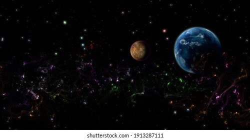 Space illustration of planets and stardust. 3d illustration.