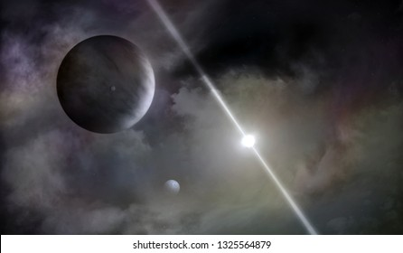 Space landscape with nebula, gas giant planet, pulsar star, 3D rendering
