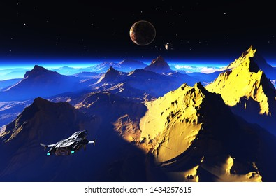 Space landscape on the planet.3d render