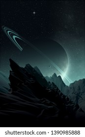 space landscape, rocky alien planet with planet on night sky, science fiction spatial illustration with 3d elements (no NASA images used)