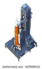 Space Launch System With Launchpad On White Background. 3D Illustration.