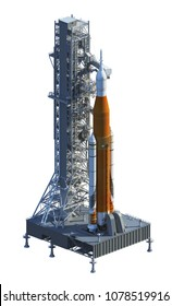 Space Launch System And Launchpad Over White Background. 3D Illustration.